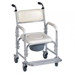Shower   commode chair with 4 wheels (brake) .For hire in Marbella - Costa del sol * commode potty and lid not included.